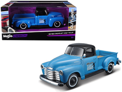 "1950 Chevrolet 3100 Pickup Truck Blue with Black Top ""Madero Sano Surf Club"" ""Outlaws"" 1/25 Diecast Model Car by Maisto"