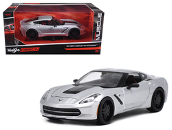 "2014 Chevrolet Corvette C7 Stingray Silver ""Modern Muscle"" 1/24 Diecast Model Car by Maisto"