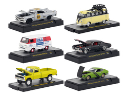 """""""Auto Meets"""" Set of 6 Cars IN DISPLAY CASES Release 49 1/64 Diecast Model Cars by M2 Machines"""