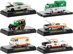 """Auto Meets"" Set of 6 Cars IN DISPLAY CASES Release 53 1/64 Diecast Model Cars by M2 Machines"