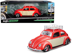 "1951 Volkswagen Beetle with Roof Rack Orange Red ""Classic Muscle"" 1/18 Diecast Model Car by Maisto"