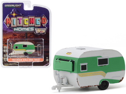 """1959 Catolac DeVille Travel Trailer Green and White (Unrestored) """"Hitched Homes"""" Series 7 1/64 Diecast Model by Greenlight"""