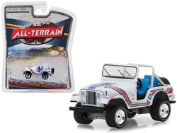 """1976 Jeep CJ-5 Bicentennial Edition White with Stripes """"All Terrain"""" Series 7 1/64 Diecast Model Car by Greenlight"""