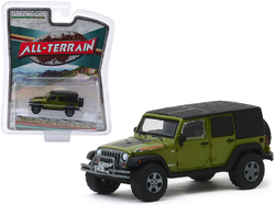 """2010 Jeep Wrangler Unlimited Mountain Edition Rescue Green Metallic with Black Top """"All Terrain"""" Series 9 1/64 Diecast Model Car by Greenlight"""