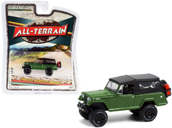 """1968 Jeep Jeepster Commando with Off-Road Parts Dark Green with Black Soft Top """"All Terrain"""" Series 11 1/64 Diecast Model Car by Greenlight"""