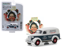 """1939 Chevrolet Panel Truck Blue and White """"Ridgewood Dental Clinic"""" Mobile Office """"Norman Rockwell Delivery Vehicles"""" Series 1 1/64 Diecast Model Car by Greenlight"""