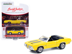 "1970 Oldsmobile 442 Convertible Sebring Yellow with Black Stripes (Lot #743) Barrett Jackson ""Scottsdale Edition"" Series 6 1/64 Diecast Model Car by Greenlight"