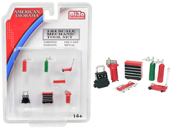 Mechanic Tool Set of 7 pieces Red for 1/64 Scale Models by American Diorama