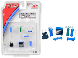 Mechanic Tool Set of 7 pieces Blue for 1/64 Scale Models by American Diorama