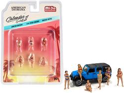 """Calendar Girls"" 6 piece Diecast Figurine Set Release 2 for 1/64 Scale Models by American Diorama"