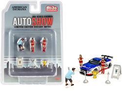 """""""Auto Show"""" Diecast Set of 6 pieces (3 Figurines and 3 Accessories) for 1/64 Scale Models by American Diorama"""