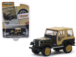 """1977 Jeep CJ-5 Golden Eagle Black with Tan Top and Gold Wheels """"The Golden Eagle Comes to Jeep Country"""" """"Vintage Ad Cars"""" Series 2 1/64 Diecast Model Car by Greenlight"""