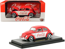 """1952 Volkswagen Beetle Deluxe Model """"Coca-Cola"""" Red and White Limited Edition to 9,600 pieces Worldwide 1/24 Diecast Model Car by M2 Machines"""