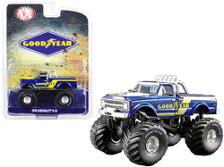 "1970 Chevrolet K-10 Monster Truck ""Goodyear"" Dark Blue with Yellow Stripes ""ACME Exclusive"" 1/64 Diecast Model Car by Greenlight for ACME"