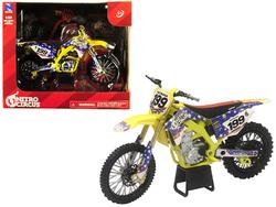 Suzuki RMZ450 Nitro Circus #199 Travis Pastrana Yellow/Blue 1/12 Diecast Motorcycle Model by New Ray