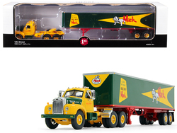 """Mack B-61 Day Cab with 40' Vintage Trailer """"Built Like a Mack"""" Yellow and Green 1/64 Diecast Model by First Gear"""