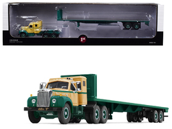 """Mack B-61 Sleeper Cab with 48' Flatbed Trailer """"Killer """"B"""" Green and Beige 1/64 Diecast Model by First Gear"""