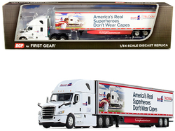 """2018 Freightliner Cascadia High-Roof Sleeper Cab with 53' Utility Trailer with Side Skirts """"Load One LLC."""" 1/64 Diecast Model by DCP/First Gear"""