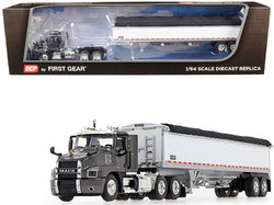 Mack Anthem Day Cab with Wilson PaceSetter High-Sided Tandem-Axle Grain Trailer Graphite Gray Metallic and White 1/64 Diecast Model by DCP/First Gear