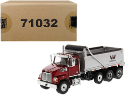 Western Star 4700 SF Dump Truck  Metallic Red with Silver Body 1/50 Diecast Model by Diecast Masters