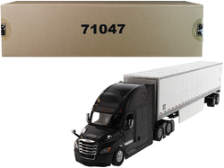 """Freightliner New Cascadia Sleeper Cab Black with 53' Dry Van Trailer White """"Transport Series"""" 1/50 Diecast Model by Diecast Masters"""