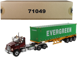 """Western Star 4700 SB Tandem Truck Tractor Metallic Red with Skeleton Trailer and 40' Dry Goods Sea Container """"EverGreen"""" """"Transport Series"""" 1/50 Diecast Model by Diecast Masters"""