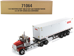 """Western Star 4900 SF Tandem Day Cab Truck Tractor Red and Gray with 40' Dry Goods Sea Container """"OOCL"""" White """"Transport Series"""" 1/50 Diecast Model by Diecast Masters"""