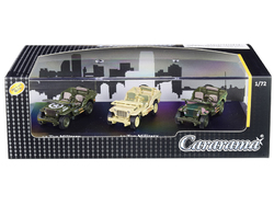 1/4 Ton Military Vehicles Set of 3 pieces in Display Showcase 1/72 Diecast Model Cars by Cararama