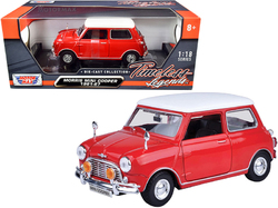 """1961-1967 Morris Mini Cooper Red with White Top """"Timeless Legends"""" 1/18 Diecast Model Car by Motormax"""