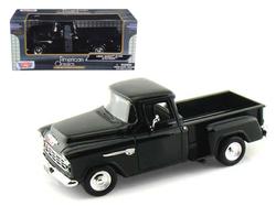 1955 Chevrolet 5100 Stepside Pickup Truck Black 1/24 Diecast Car Model by Motormax