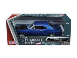 1969 Dodge Coronet Super Bee Blue 1/24 Diecast Model Car by Motormax