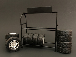Metal Tire Rack with Rims and Tires for 1/18 Scale Models by American Diorama