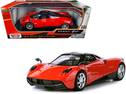Pagani Huayra Bright Red with Chrome Wheels 1/24 Diecast Model Car by Motormax