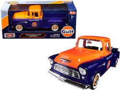 "1955 Chevrolet 5100 Stepside Pickup Truck ""Gulf"" Dark Blue and Orange 1/24 Diecast Model Car by Motormax"