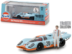 "1970 Porsche 917K ""Gulf"" #20 with Steve McQueen Figurine ""Steve McQueen Collection"" (1930-1980) 1/43 Diecast Model Car by Greenlight"