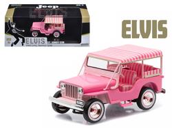 "1960 Jeep Surrey CJ3B ""Pink Jeep"" Elvis Presley (1935-1977) 1/43 Diecast Model Car  by Greenlight"