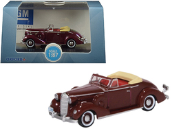 1936 Buick Special Convertible Coupe Cardinal Maroon 1/87 (HO) Scale Diecast Model Car by Oxford Diecast