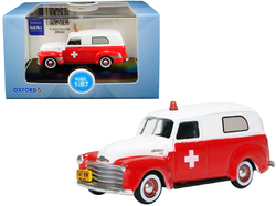 "1950 Chevrolet Panel Van ""Ambulance"" Red and White 1/87 (HO) Scale Diecast Model Car by Oxford Diecast"