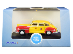 """1946-1948 DeSoto Suburban Yellow and Red """"San Francisco Taxi"""" """"The Godfather"""" Movie 1/87 (HO) Scale Diecast Model Car by Oxford Diecast"""