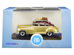 1946 DeSoto Suburban with Roof Rack and Luggage Trumpet Gold with Rhythm Brown Top 1/87 (HO) Scale Diecast Model Car by Oxford Diecast