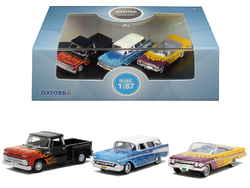 """Chevrolet Hot Rods"" Set of 3 pieces 1/87 (HO) Scale Diecast Model Cars by Oxford Diecast"