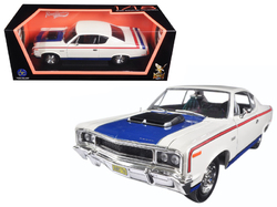 1970 AMC Rebel White with Blue Hood and Red and Blue Stripes 1/18 Diecast Model Car by Road Signature