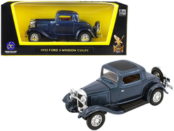 1932 Ford 3 Window Coupe Metallic Dark Blue 1/43 Diecast Model Car by Road Signature