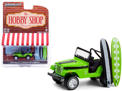 """1971 Jeep CJ-5 Renegade Big Bad Green with Black Stripes with Two Surfboards """"The Hobby Shop"""" Series 10 1/64 Diecast Model Car by Greenlight"""
