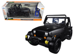 "1992 Jeep Wrangler ""Just Trucks"" with Extra Wheels Matt Black 1/24 Diecast Model Car by Jada"