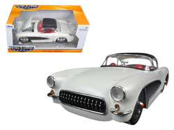 1957 Chevrolet Corvette Satin Cream Metallic with Matt Black Top and Side 1/24 Diecast Model Car by Jada