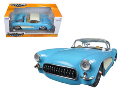 1957 Chevrolet Corvette Sky Blue with Cream Top and Side 1/24 Diecast Model Car by Jada