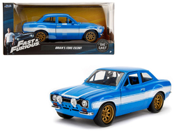 """1970 Brian's Ford Escort Blue with White Stripes """"Fast & Furious"""" Movie 1/24 Diecast Model Car by Jada"""