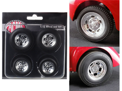 Polished Drag Wheels and Tires 4 pcs Set from 1941 Gasser 1/18 by Acme