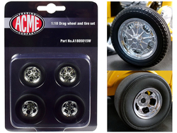"Chrome Drag Wheel and Tire Set of 4 pieces from ""1932 Ford 3 Window"" 1/18 by Acme"